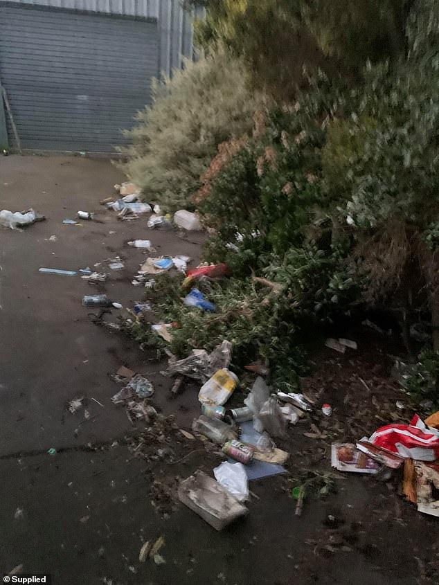 Rubbish is strewn across the backyard of Chris Taranto's property