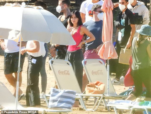 Dressed down: The daughter of Don Johnson and Melanie Griffith, who portrays Nina in the movie, later sported a pink vest and grey joggers