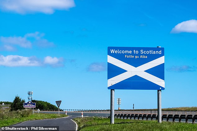 A Scotland-England national border sign is pictured at the Scottish Borders in July 2016