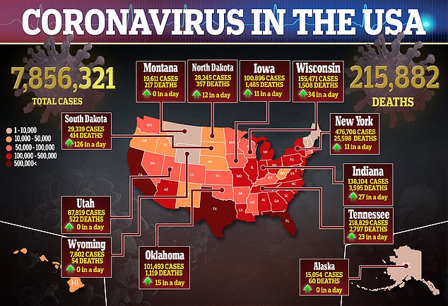 There are more than 7.8 million cases of the virus in the United States and more than 216,000 people have died since the pandemic spread in mid-March