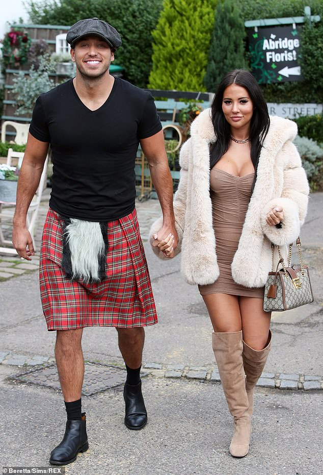 Loved-up:TOWIE stars James Lock, 33, and girlfriend Yazmin Oukhellou, 26, arrived for filming on Thursday as Essex is set for Tier Two rules with a ban on households mixing indoors