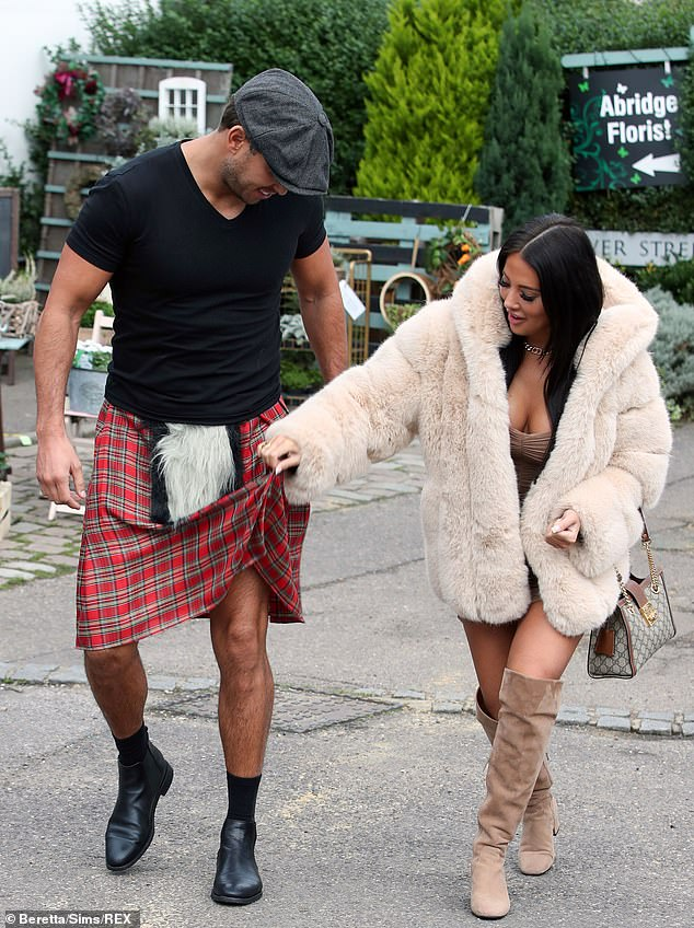 Cheeky!Yazmin was seen playfully teasing James by lifting up his kilt, traditionally worn without underwear