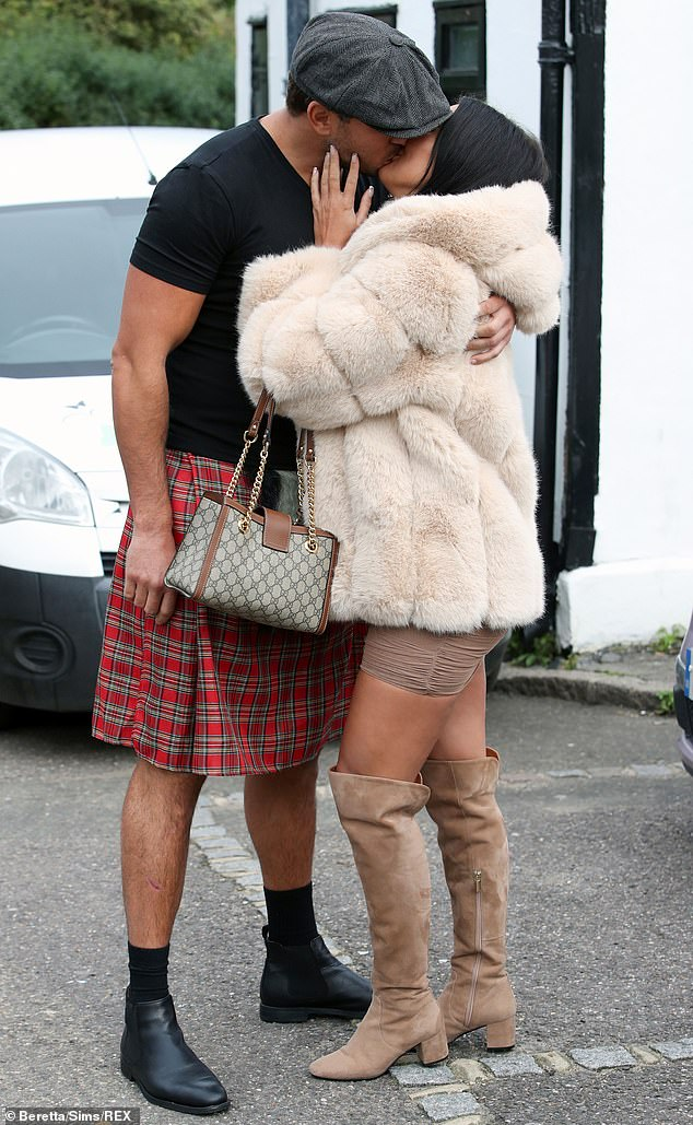Sweet:James wore a red tartan kilt and looked smitten with Yazmin as they arrived holding hands before embracing in a kiss ahead of filming for the ITVBe show