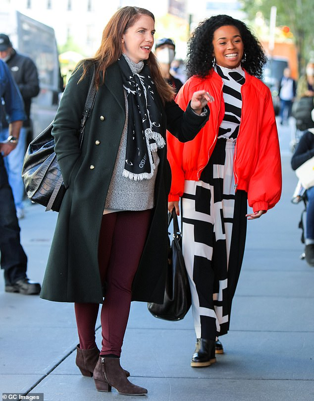 True to life: Anna is playing a journalist in the 10-episode series, so she was dressed in various business-casual styles; seen with Alexis Floyd