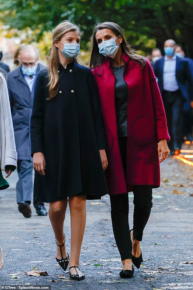 During their visit to the complex where the Princess of Asturias Awards ceremony takes place, the royals, all wearing face masks, toured the venue. Pictured: Letizia and Princess Sofia