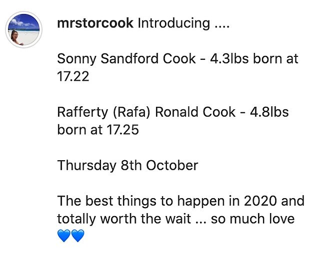 Announcement:Blogger Tor announced the arrival of her babies in a sweet Instagram post earlier this week, after giving birth last Thursday