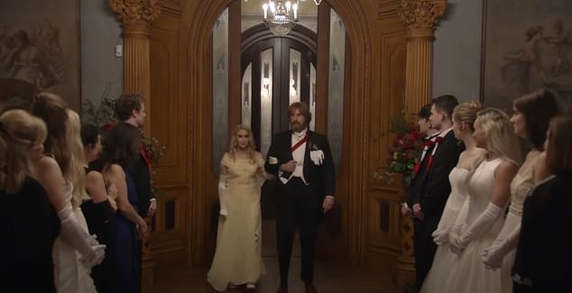 Davis said he believed the script for the film was about an Eastern European girl trying to make her debut in southern society at the cotillion ceremony. Sacha Baron Cohen and Irina Nowak pictured above in the trailer for the film entering the cotillion