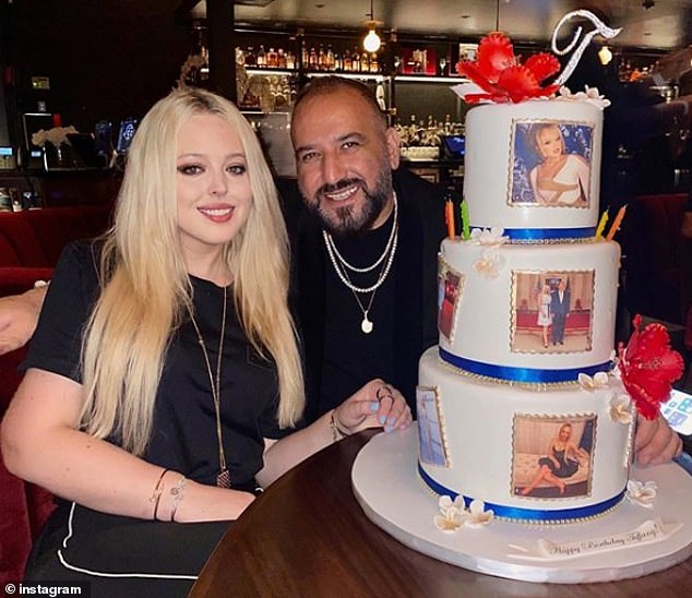Tiffany Trump was presented with a three-tiered cake covered in her Instagram photos while out at Papi Steak in Miami the day before her 27th birthday