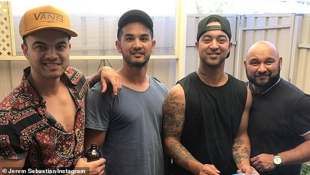 The Sebastian boys: Guy has three brothers eldest Ollie, 42, The Voice winner Chris, 32, and youngest Jeremy, 30. Pictured left to right is Guy, Jeremy, Christ and Ollie