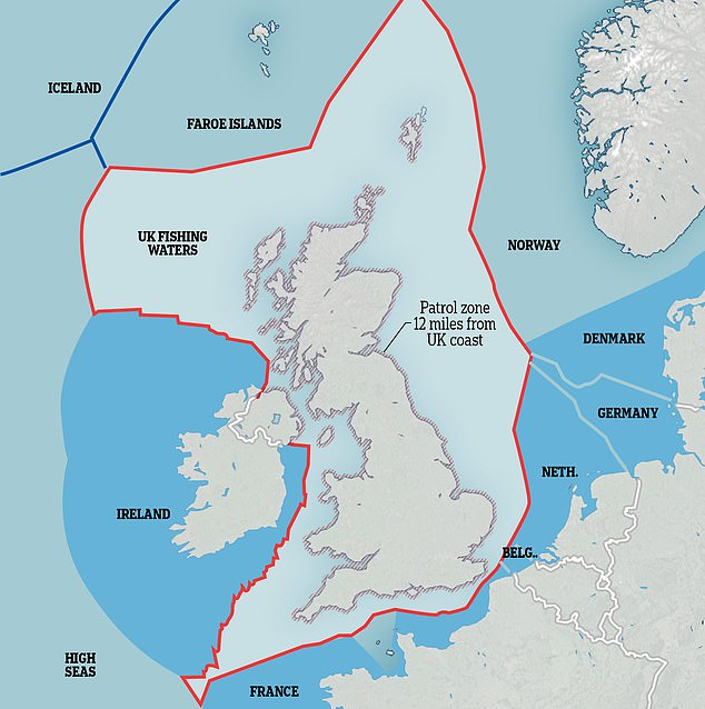 This map shows the extent of the UK's Exclusive Economic Zone - the waters Britain will take back control of after Brexit. At the moment the EEZ of every EU member state is merged into one large zone which can be accessed by fishermen from all over Europe.