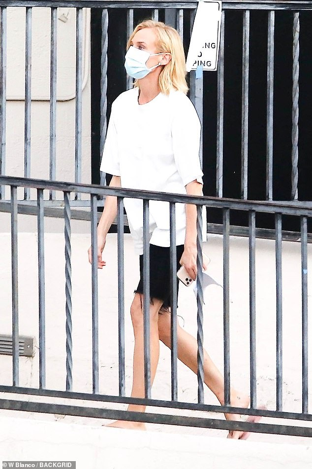 All white?it was work as usual for Diane Kruger and Kiernan Shipka on Thursday, as they were seen on-set for the forthcoming show