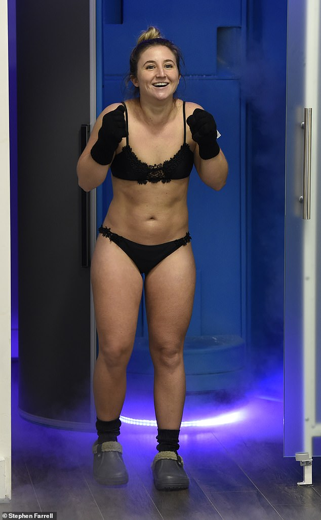 Chilling out:Former Hollyoaks star Jazmine Franks showcased her toned physique as she had a Cryotherapy chamber treatment on Thursday