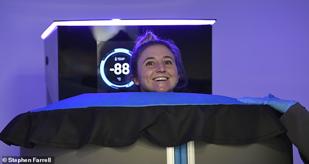 Head's up:During her Cryotherapy session, Jazmin appeared in good spirits as her head was seeking poking out the top of the large chamber
