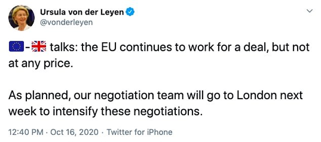 President of the European Commission Ursula von der Leyen responded to Mr Johnson's comments by saying talks will still go ahead in London next week