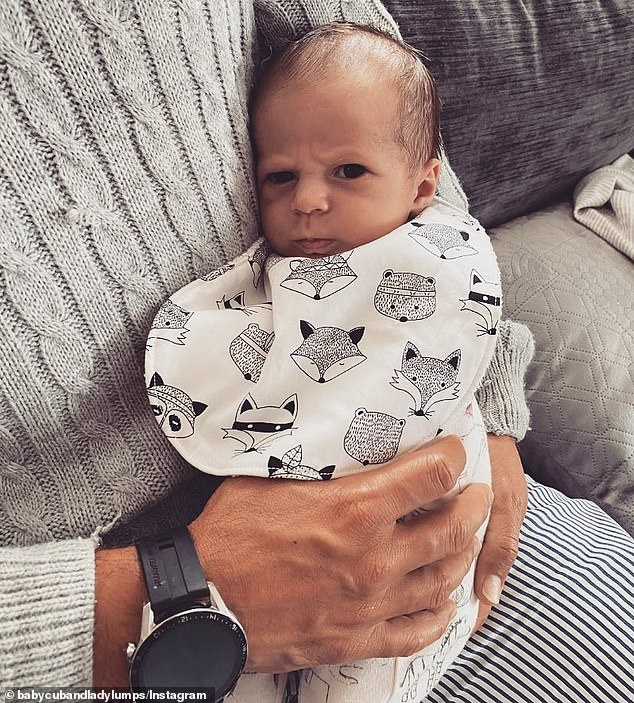 Funny face: On Friday, Jules Robinson shared an adorable new picture of Oliver (pictured) pulling a face. She explained that they have dubbed it, the 'old angry man poo face'