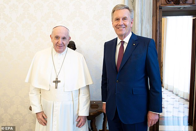 Francis was pictured next to Christian Wulff, the former President of the Federal Republic of Germany, at a hearing on Friday in another apparent violation of security restrictions.