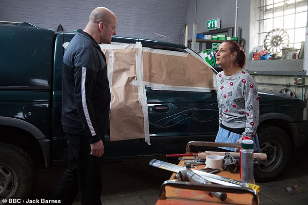 Drama: During her seven years at Walford, Tina has been embroiled in several huge storylines, including the domestic violence plot with her ex Tosh and confronting her past trauma at the hands of Stuart Highway (pictured)