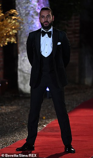 Suave: Pete opted for a black blazer with a matching vest and trousers along with a white shirt