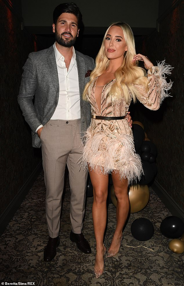 Romance in the air: Amber Turner and her boyfriend, 30, put on a loved-up display as they filmed the TOWIE season finale on Wednesday evening