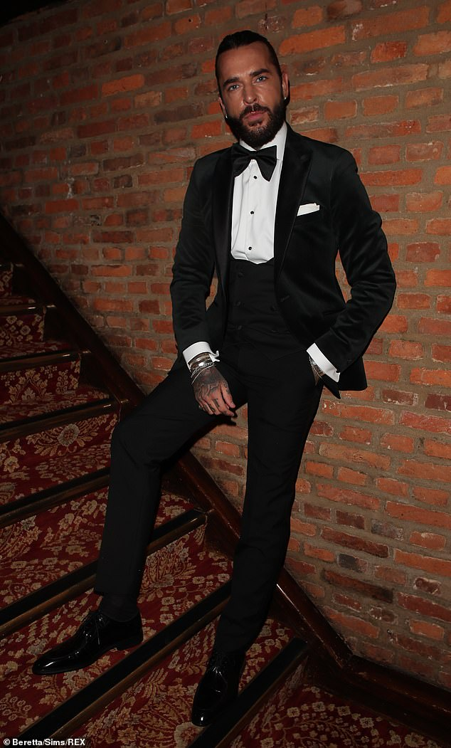 Dapper: Pete Wicks also dressed up for the occasion and cut a very suave figure in black