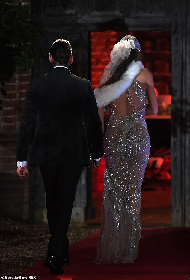 Off they go: Pete and Chloe walked inside together