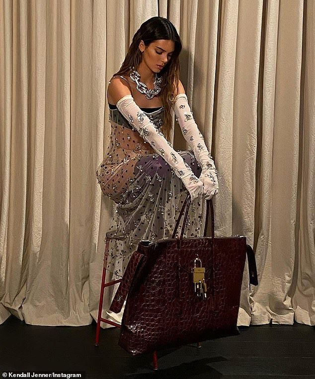 Reptilian: A shiny brown crocodile skin bag with heavy hardware sat below the IMG model, who was perched on a high stool