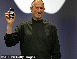 Apple co-founder Steve Jobs held up the original 3.5-inch iPhone in 2007