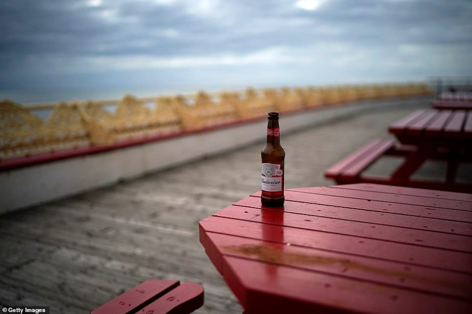 A single Budweiser bottle was left on an outside bench on the Central Pier in Blackpool earlier today. From tomorrow all pubs and bars will be forced to close