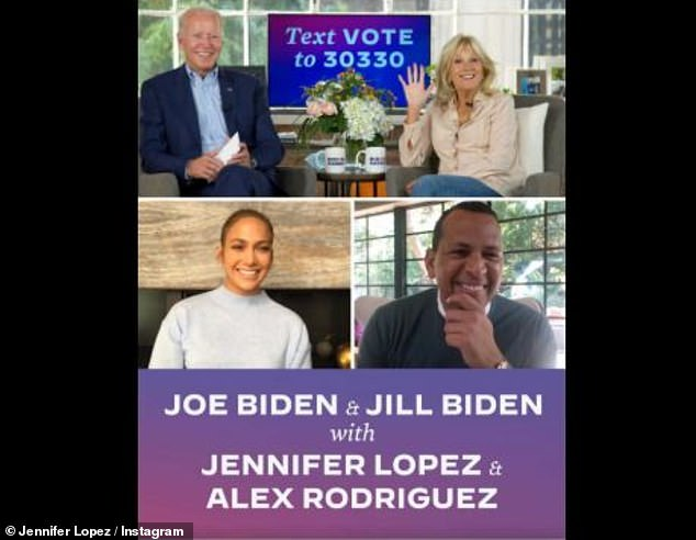 Public endorsement: JLo and A-Rod chatted with Joe and Jill Biden on Instagram Friday, as they voiced their concerns and encouraged the Latino vote