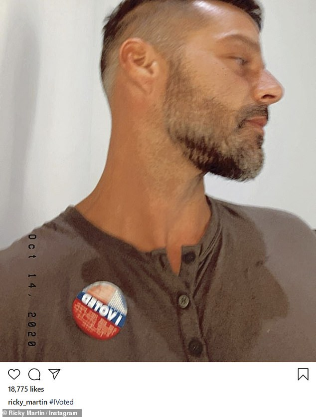 Along with many others: Ricky Martin also posed with his I Voted sticker, in a blurry selfie