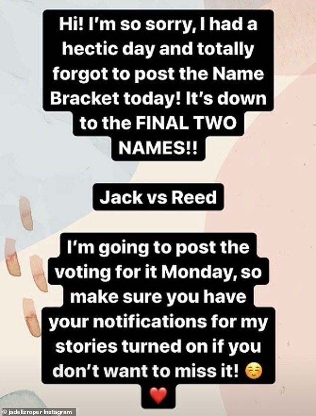 Name bracket: Jade took to her Instagram Story on Thursday, after opening up the naming of her new addition to a vote from her 1.3million followers