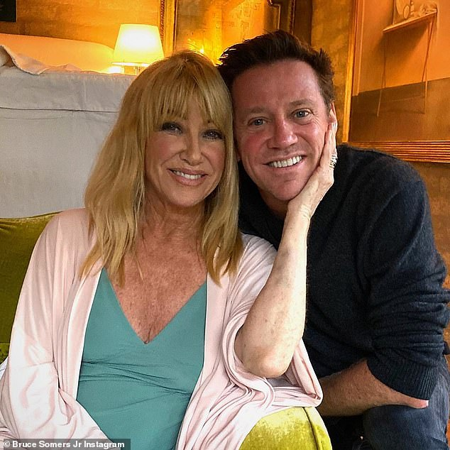 Mother and Son: Suzanne's son Bruce posted this lovely photo of the couple for their birthday on Friday and added an emotional tribute to them in the caption