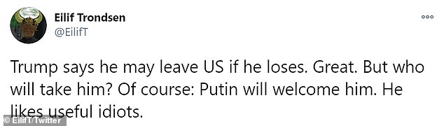 Others debated which country Trump would relocate to with many musing he would opt for Russia or a country he couldn't be extradited from back to the US on any charge
