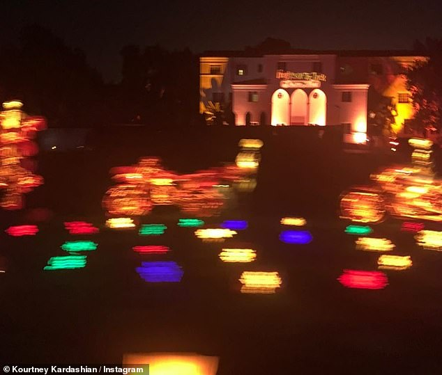 Living life to the full:She also showed that from the outside at night, her home was lit up pink and orange in keeping with the tone of the holiday