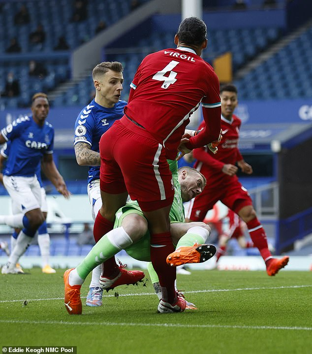Van Dijk injured by Pickford in Merseyside derby as fans call for red card  - unfoldtimes.com
