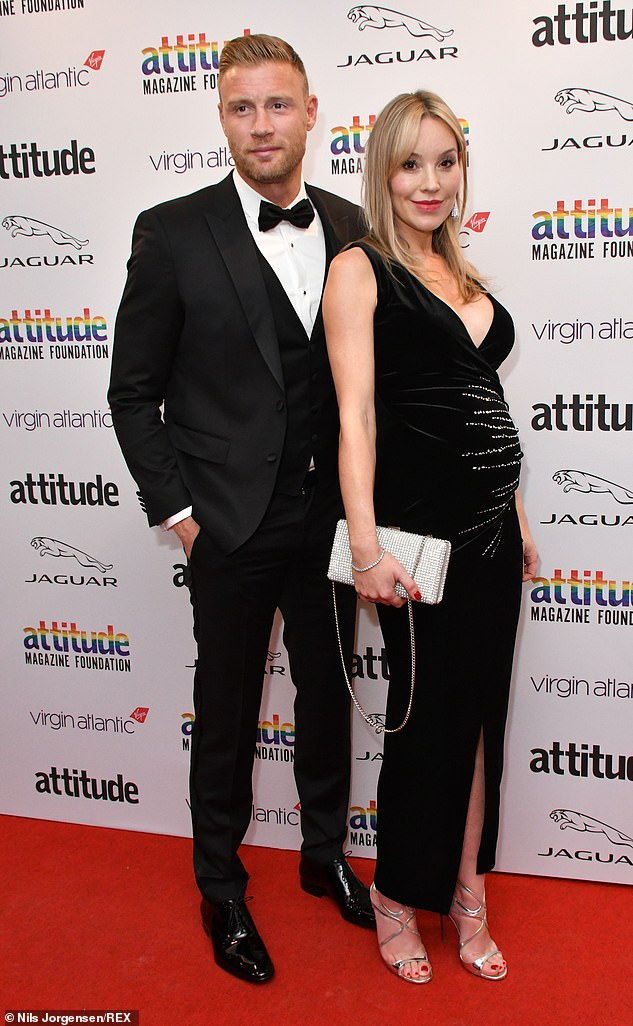 Growing family:Cricket star Freddie, 42, and former model Rachael also share children Holly, 16, Corey, 14, and Rocky, 12 (Racheal pictured pregnant at the Attitude Awards in October)