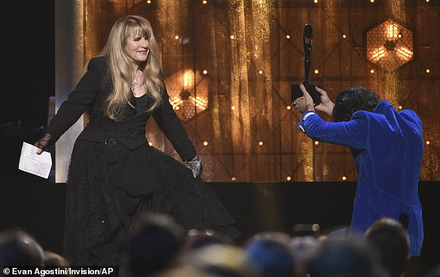 Mates:Harry inducted Stevie into the Rock & Roll Hall of Fame at the 2019 ceremony (pictured).'What really made me choose Harry is that he's so funny and so well spoken, and also that we're just such good friends,' Stevie explained