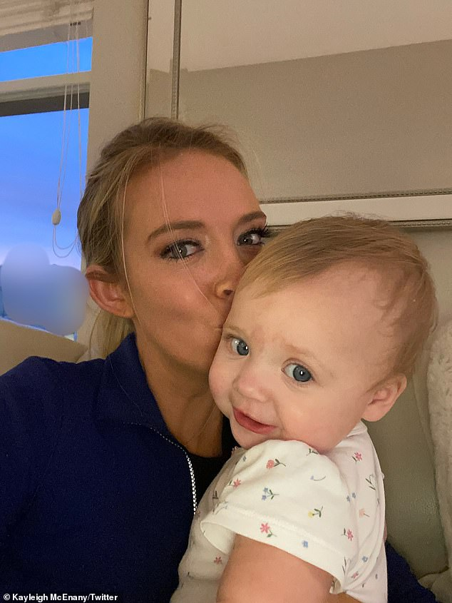 White House press secretary Kayleigh McEnany announced on Friday that she was no longer infected with the coronavirus, tweeting a photo of her and her infant daughter with the caption: 'Blessed to be COVID clear!'