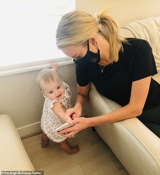On Thursday, McEnany posted an image of her and her daughter with the caption: 'One day I will explain to her what censorship is and why she had to unjustly delete Mommy's tweet in order to speak!'