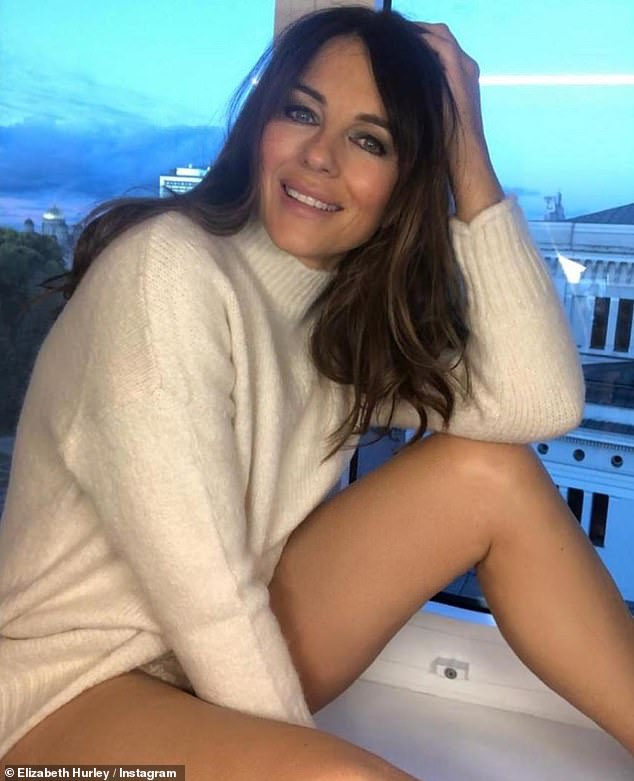 Stunning:Elizabeth Hurley, 55, shared a series of snaps to Instagram on saturday that revealed her ageless complexion and stunning legs