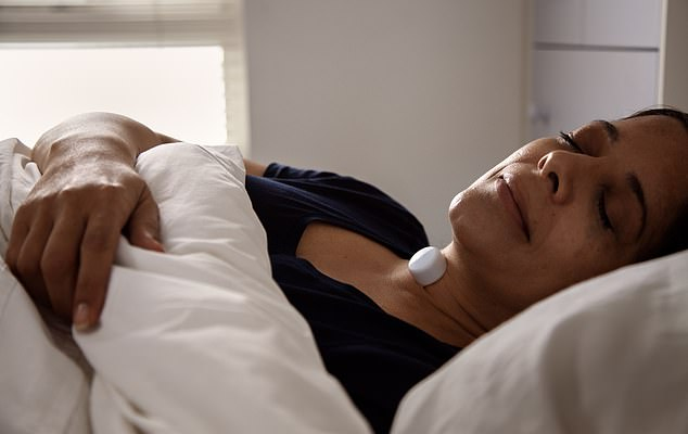Sleeping partner: The AcuPebble on the neck records heart and lung vibrations and transmits data to an app,detecting breathing patterns associated with sleep apnoea