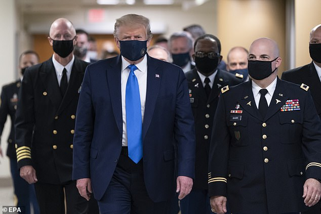 When US President Donald Trump, pictured above, tested positive for Covid-19 at the start of this month, so too did more than 20 of his close circle (file photo)