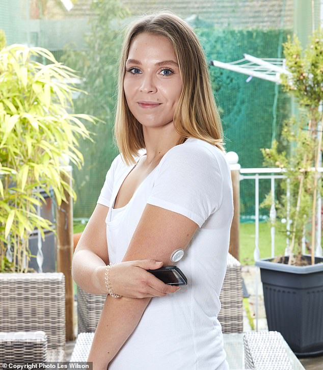Rejected: Hannah Lowman,29, from Bungay in Suffolk, with the £100-a-month blood sugar monitor she wears. She was denied an NHS device