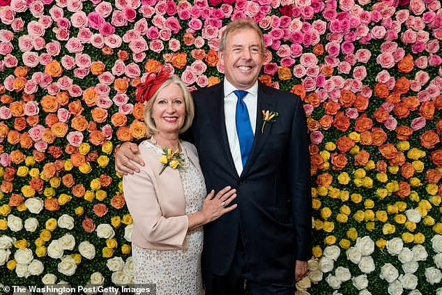 Mr Trump ordered an investigation into whether Lord Darroch (pictured with his wife Vanessa) had leaked information to Ms Kosinski during his term in Washington