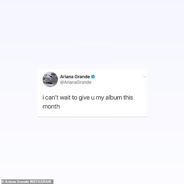 Coming soon:Grande first revealed that she would be releasing an album in the coming weeks in a message published to Twitter on October 14