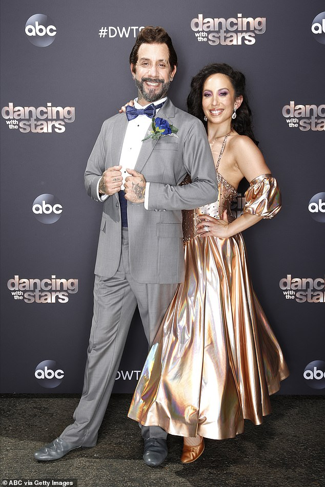 Happier than ever:Since beginning his quest to take home the Mirrorball Trophy, the musician has shed about 15 pounds and talked about bonding with his dancing partner over sobriety; seen last week