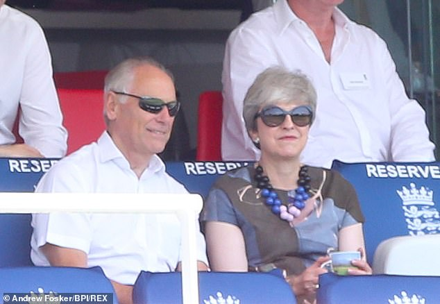 Bumping into another member could prove a little awkward ¿ former PM Theresa May. Mrs May (above, at Lord's in 2019), who joined two years ago after her application was fast-tracked, sacked her as international development secretary in 2017 when Miss Patel was accused of failing to disclose full details of meetings she had with political figures during a trip to Israel