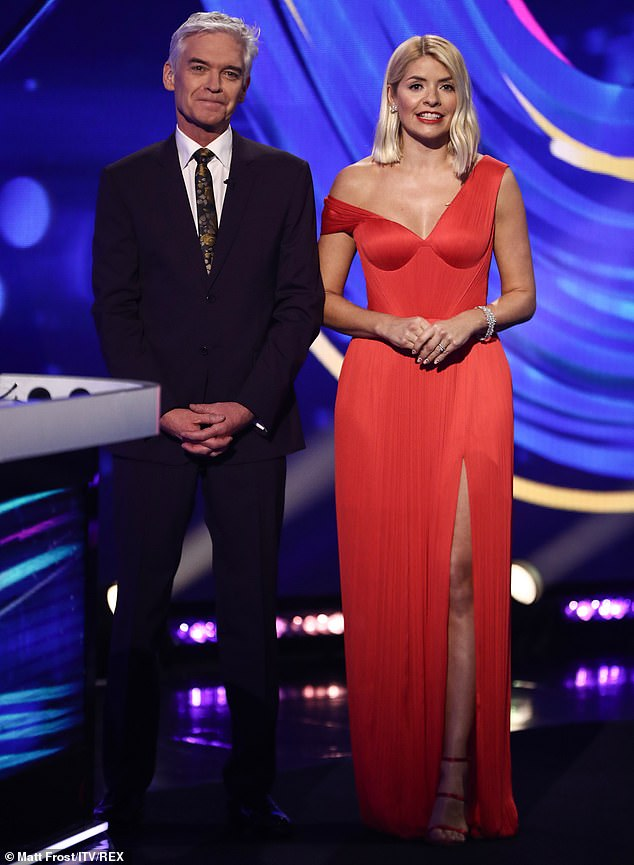 Holly Willoughby, 39, pictured above with Philip Schofield on the 'Dancing on Ice' TV show in February this year in Hertfordshire
