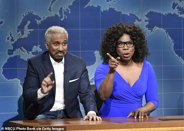"""No: """"I don't miss it. Not at all, """"insisted the 53-year-old actress, who won three Emmy nominations during her run; Chris Redd as Stedman Graham and Leslie Jones as Oprah Winfrey on SNL in 2018"""