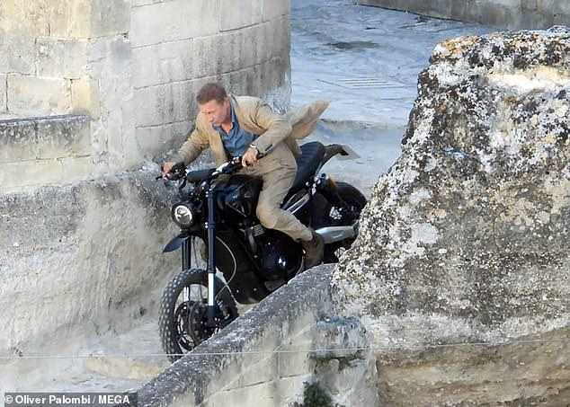 James Bond on a motorcycle in the much-anticipated new 007 film, No Time To Die